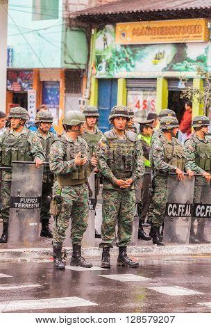 Banos De Agua Santa - 18 June, 2015: Ecuadorian Army Welcoming To The President Of The Ecuador In Banos De Agua Santa On June 18, 2015