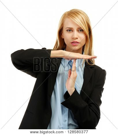 Stressed businesswoman takes a break, isolated on white