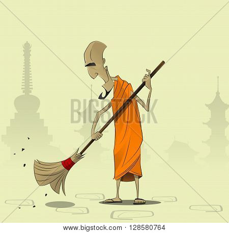 Elderly Buddhist monk sweeps the courtyard of the monastery. The concept of religion, faith