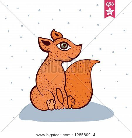 Cute red fox. Baby fox sitting in snowy forest. Colorful Vector illustration, Cartoon style.