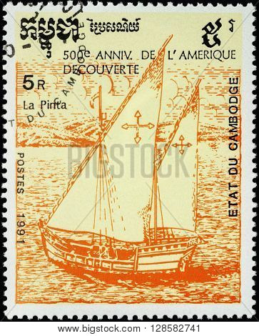 MOSCOW RUSSIA - MAY 01 2016: A stamp printed in Cambodia shows ship Pinta 1st expedition of Columbus (1492) series