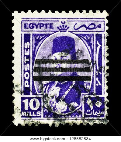 EGYPT - CIRCA 1953 : Cancelled postage stamp printed by Egypt, that shows king Farouk.