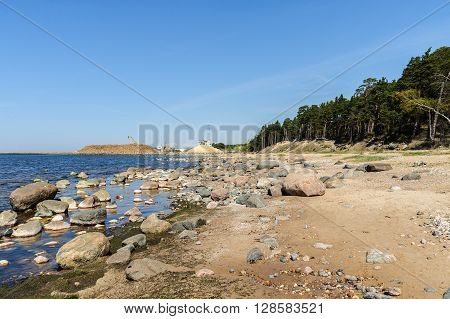 Stones at coastline of Baltic sea in Riga, Latvia