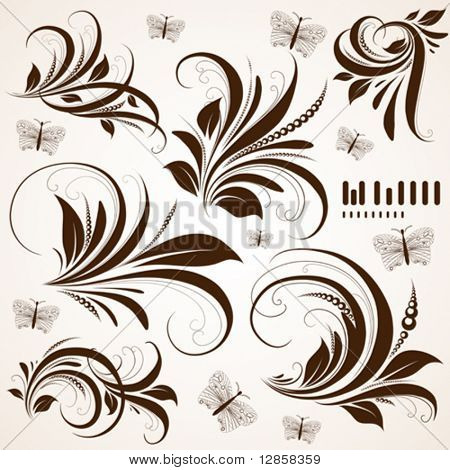 vector set: swirls - variety of handdrawn floral design elements