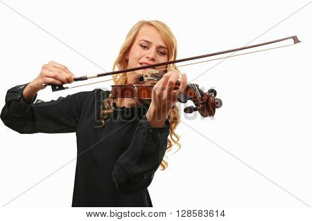 Beautiful woman plays violin isolated on white background, close up