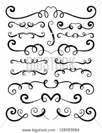 Set of hand drawn vignettes in grunge retro style. Elegant vintage calligraphic borders and dividers for greeting card, retro party, wedding invitation. Vector illustration.
