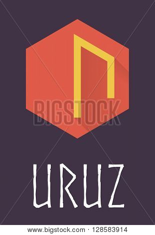 Uruz rune of Elder Futhark in trend flat style. Old Norse Scandinavian rune. Germanic letter. Vector illustration.