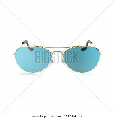 Sunglasses blue glasses isolated on white background.
