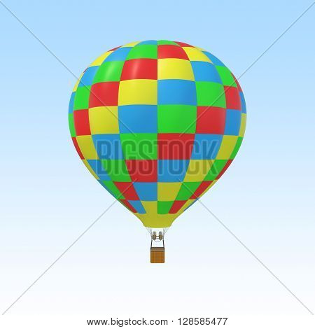 Colorful balloon isolated on sky background. 3d illustration