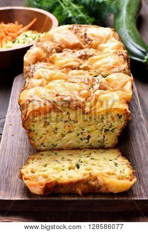 Moist vegetable bread from eggs zucchini carrot herbs