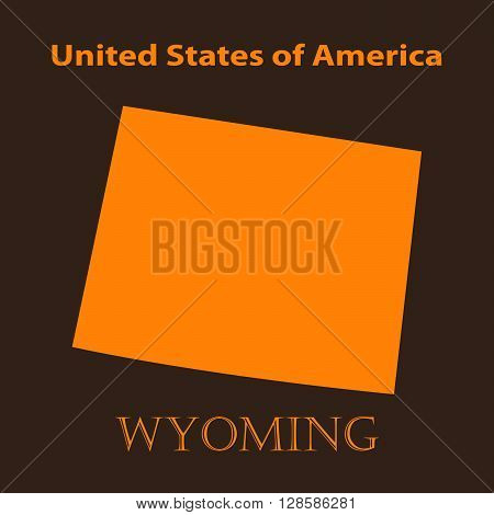 Orange Wyoming map - vector illustration. Simple flat map of Wyoming on a brown background.