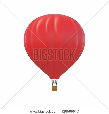 Red air ballon isolated on white background. 3d illustration