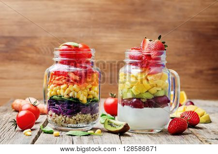 homemade rainbow salads with vegetables quinoa Greek yogurt and fruit