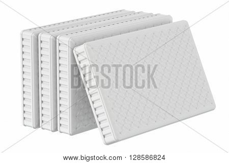 set of mattresses 3D rendering isolated on white background