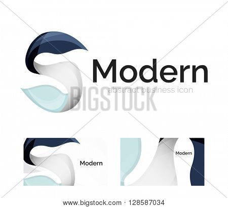 Vector abstract ribbon logo with business card identity design. Corporate modern swirl element isolated on white