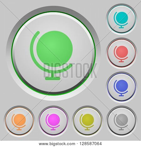 Set of color globe sunk push buttons.