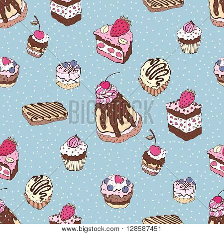 Seamless cupcake pattern. Yummy cute background. Hand drawn vector pattern.
