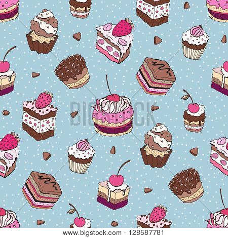 Yummy colorful Hand drawn pattern. Seamless vector illustration