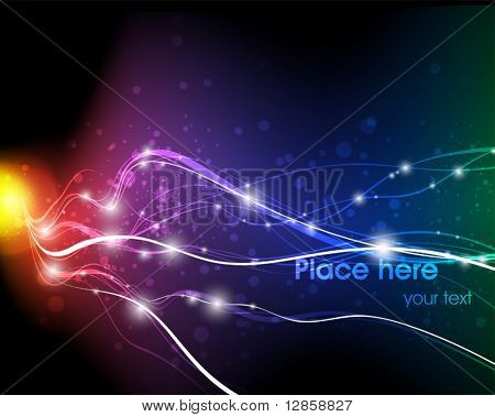 Vector illustration of futuristic abstract glowing background resembling motion blurred neon light curves