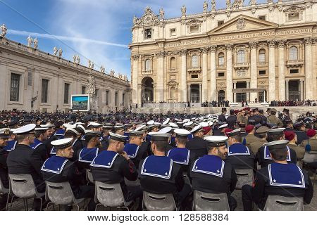 Rome Italy - April 30 2016: Military deployed in St. Peter's Square on the occasion of the Jubilee of the armed forces.