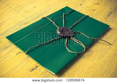 Green letter envelope with wax seal on wooden surface