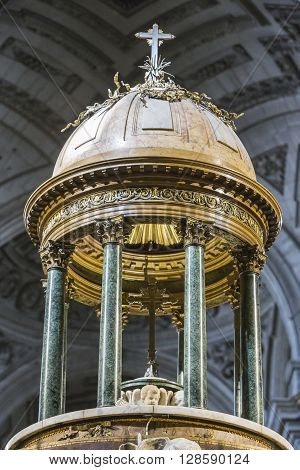Jaen Spain - may 2016 2: High altar detail of the dome of the presbytery measures two meters in height with a weight of 110 kg work of Pedro Arnal custody made by Juan Ruiz take in Jaen Spain
