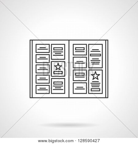 Notice board with ads. Advertising elements. Menu, booklet, catalogue and other polygraphy. Flat line style vector icon. Single design element for website, business.