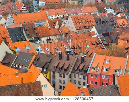 Typical orange rooftops of old town of Nuremberg, Bavaria, Germany
