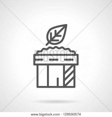 Dish or can with spicy sauce and leaf. Sauces for salad. Ingredients and menu. Simple black line vector icon. Single element for web design, mobile app.