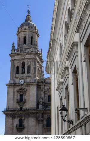 JAEN, SPAIN - may 2016 2: The cathedral of the holy Church in Jaen also called Assumption Cathedral, Take in Jaen, Spain