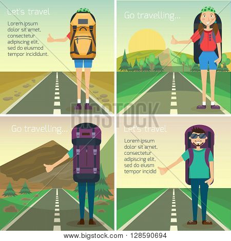 Travel hitchhiking concept. Hitchhiker standing on the road with big backpack. Individual tourism concept. Individual journey. Tourist on the road. Vector illustration. Flat cartoon style