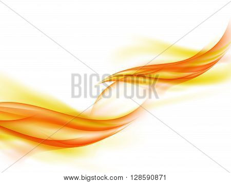 Abstract white background with lines of yellow, orange and red warm colors, fiery smoke, vector illustration