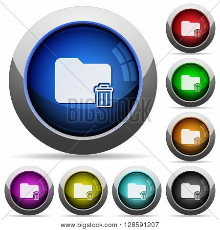 Set of round glossy delete folder buttons. Arranged layer structure.