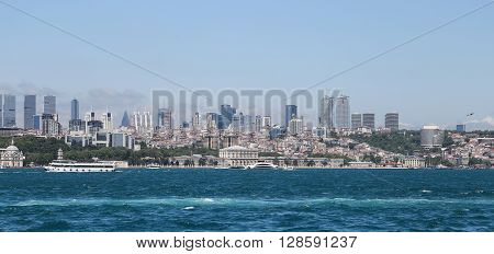 Dolmabahce Palace And Besiktas In Istanbul City, Turkey