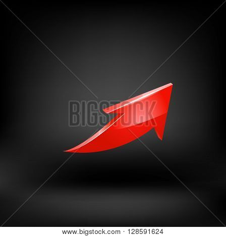 Red arrow. Vector illustration on black background.