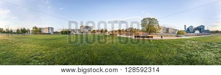 Panorama Of Spreebogen Park In Berlin With Government Buildings In Berlin In Early Morning Light