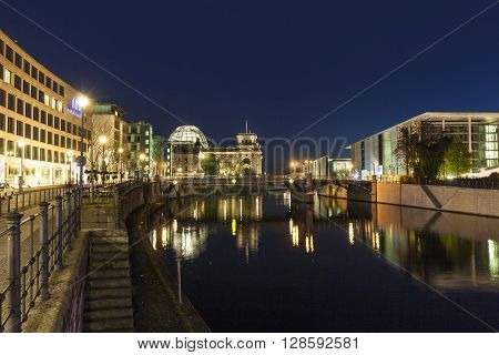 The German Chancellery Building In The Government District In Berlin At Night