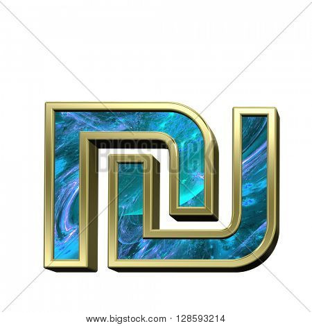 Sheqel sign from blue fractal with gold frame alphabet set isolated over white. 3D illustration.