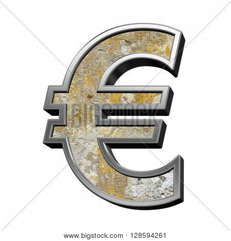 Euro sign from old concrete with silver frame alphabet set isolated over white. 3D illustration.