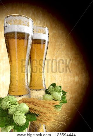 two glasses of beer with barley and hops  - 3D render