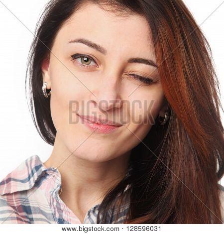 FLIRTATION! young woman winking (Body language gestures psychology)