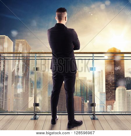 Man watches the view over the city