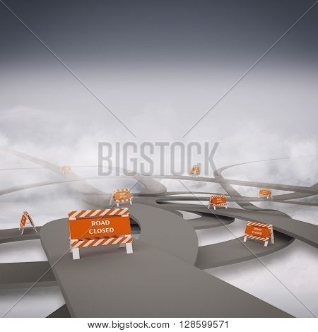 Tangle of roads with road closure alerts 3d rendering