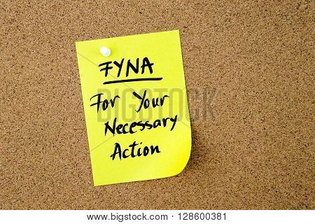 Business Acronym Fyna For Your Necessary Action