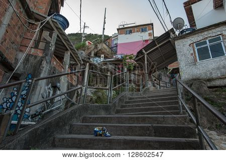 Rio de Janeiro, Brazil - April 5, 2016: Fragile residential structures of Santa Marta community in Rio de Janeiro
