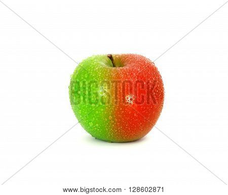 Half and half green red fresh apple with water droplet , change or modified concept