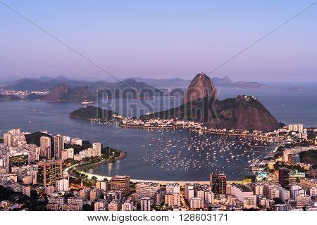 Botafogo Bay and Sugarloaf Mountain in Rio de Janeiro in the Evening