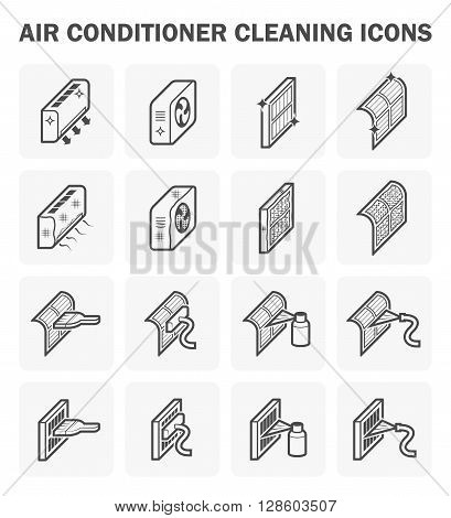 Air conditioner cleaning icon sets on white.