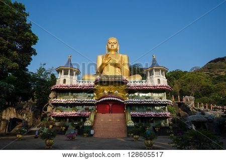Dambulla, Sri Lanka - May 30 2015: Major attractions of the city include the largest and best preserved cave temple complex, May 30, 2015, Dambulla, Sri Lanka.