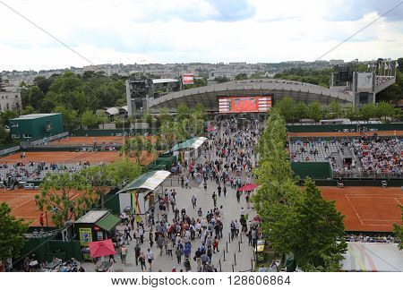 PARIS, FRANCE- MAY 24, 2015: Areal view of the Le Stade Roland Garros and Court Suzanne Lenglen during Roland Garros 2015 in Paris, France